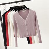 針織開衫女 短款冬秋新款純色百搭修身顯瘦外搭披肩上衣小外套