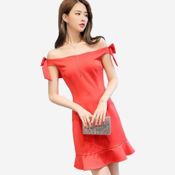 宴會雙肩蝴蝶結裝飾一字領無袖荷葉下擺短洋裝 (紅 黑) 11850063