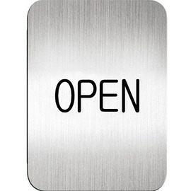 迪多Deflect-o 鋁質方形貼牌-英文OPEN指示 611110S