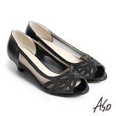 A.S.O 星光注目 全真皮水鑽拼接網布魚口跟鞋 黑