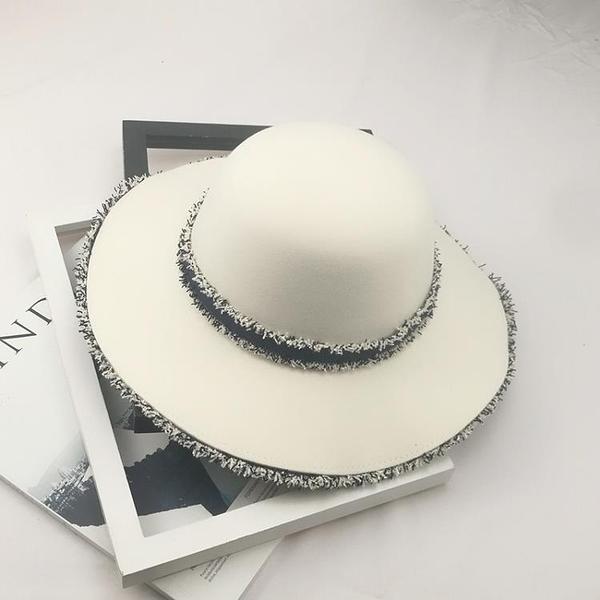 牛仔帽英倫復古牛仔毛邊毛呢帽大檐圓頂禮帽秋冬寬鬆女士街拍百搭潮帽子 HOME 新品