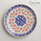波蘭陶 藍印紅花系列 淺底圓形餐盤 19...