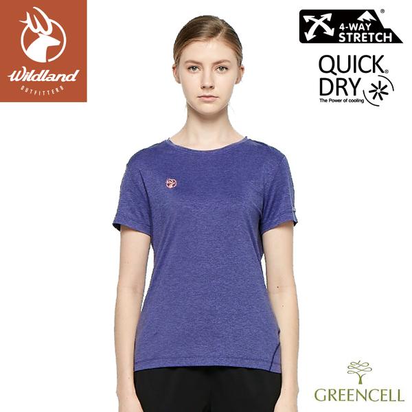 【Wildland 荒野 女 環保涼感抗UV圓領上衣《紫羅蘭》】0A81611/短袖/T桖/運動衣/休閒衫