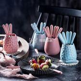 創意可愛糖果色水果叉陶瓷不銹鋼小叉子點心叉蛋糕叉甜品叉套裝  瑪奇哈朵