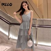 連身裙很仙的洋裝女新款夏設計感小個子心機灰色流行夏天吊帶裙子 海角七號
