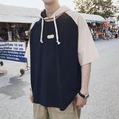 子俊夏季新款韓版字母印花連帽T恤原宿bf風半截袖潮男短袖學生tee   mandyc衣間