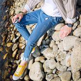 牛仔褲 九分褲男士牛仔褲男學生韓版哈倫褲修身小腳冬季長褲子男潮流