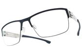 Ic! Berlin 光學眼鏡 MAX S. BLUE CHROME (藍-銀) 輕量工藝知性眉框款 薄鋼眼鏡 # 金橘眼鏡