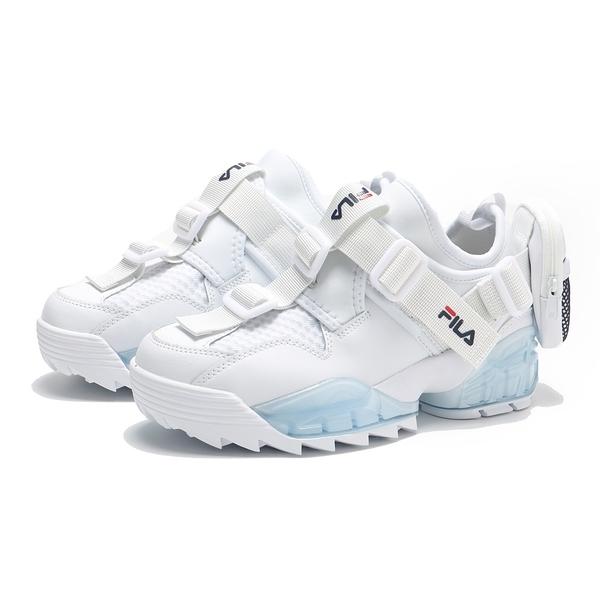 FILA 休閒鞋 UNIT 白 後跟拉鍊小包 鋸齒鞋 襪套 女 (布魯克林) 5C350V125