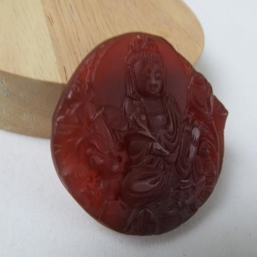 天然紅玉髓觀音菩薩項鍊#1932