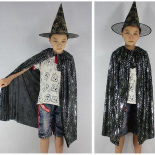 萬聖節 兒童小巫師披風