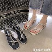 夾腳涼鞋 水鉆夾腳涼鞋女中跟粗跟2021年新款夏季仙女風配裙子ins潮羅馬鞋 【618 購物】