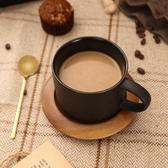 馬克杯 歐式輕奢陶瓷咖啡杯配底座黑色磨砂配勺簡約創意咖啡廳杯子【快速出貨八折搶購】