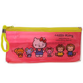 〔小禮堂﹞Hello Kitty 防水拉鍊筆袋《透明.紅黃.站姿.朋友》收納包.化妝包 4549479-03174