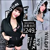 克妹Ke-Mei【AT47953】歐美單!獨家帽上字母圖印拉鍊騎士風外套