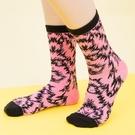 閃電豹風中筒棉襪(粉色)