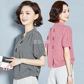 格子襯衫短袖女夏季新款寬鬆V領遮肚子上衣小襯衣快速出貨