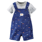 Carter's 美國童裝 T恤 短袖 吊帶褲 短褲 藍色 兩件組 3M 6M 9M