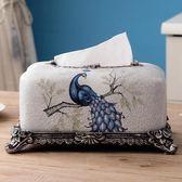 歐式創意紙巾盒美式抽紙盒家用客廳茶幾收納盒桌面樹脂紙抽盒擺件 DN16682【極致男人】