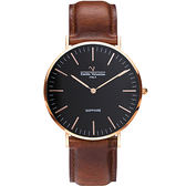 【VALENTINO 范倫鐵諾】經典皮革手錶-40mm 71418M黑面玫瑰金咖啡帶