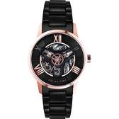 Relax Time RT61系列 羅馬鏤空機械腕錶-黑x玫瑰金框/42mm RT-61-8