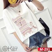 中大尺碼 貓咪百搭學生短款T恤 M-2XL O-ker歐珂兒 169084-C