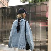 花田櫥窗P395港風復古寬鬆2018秋季新款綁帶bf潮原宿風牛仔外套女【一條街】