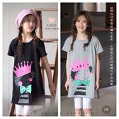 純棉 可愛蝴蝶結皇冠女孩長版上衣 短袖 俏皮 竹節棉 塗鴉 插畫 女童 哎北比童裝
