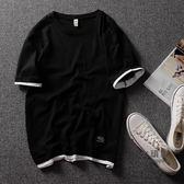 短袖T恤 潮牌夏季T恤男短袖原創假兩件短袖T恤青少年日系拼色棉質T恤男 5色
