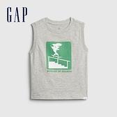 Gap男幼童 趣味印花無袖T恤 823743-灰色