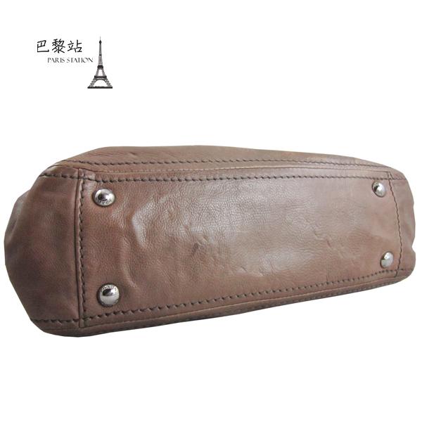 【巴黎站二手名牌專賣店】*現貨*PRADA 真品* 摩卡色全皮 皮穿鍊釦式 肩背包 斜背包