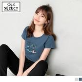 《KG0477-》高含棉度假沙灘椰子印圖T恤 OB嚴選