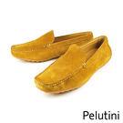 【Pelutini】麂皮簡約豆豆鞋 棕黃...