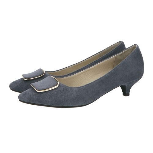【ORiental TRaffic】摩登金屬方釦中跟鞋-皇家藍