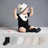 襪子 兒童 嬰兒 雙針 直條紋 素色 中筒 反折 防滑襪 BW