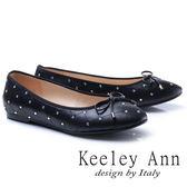 ★2017秋冬★Keeley Ann甜美氣息~蝴蝶結菱紋水鑽點點全真皮平底娃娃鞋(黑色)