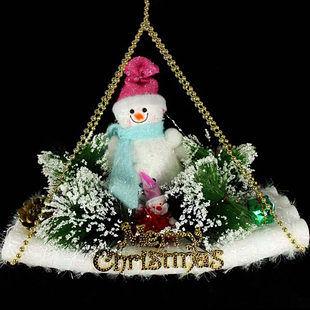 聖誕場景裝飾掛件 雪人滑板