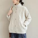 立領針織外套 提花開衫毛 排扣針織長袖外套/3色-夢想家-0118