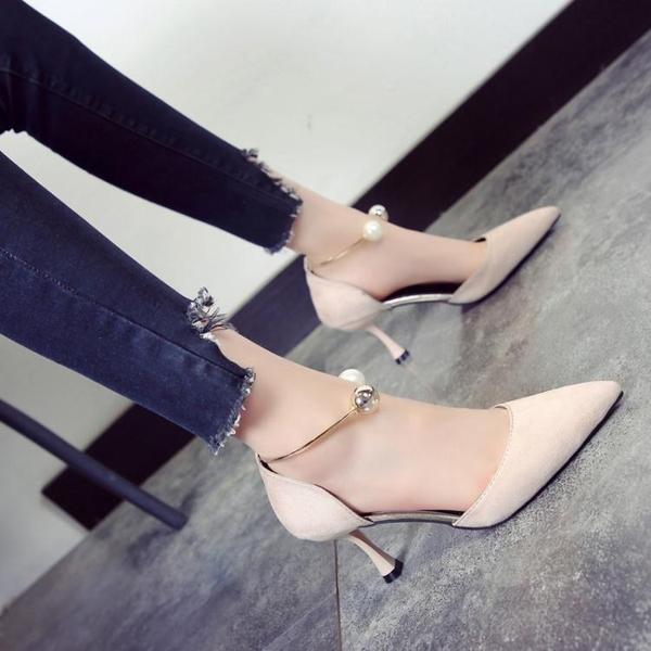 高跟鞋 網紅鞋子女新款復古珍珠尖頭細跟小清新法式少女高跟鞋女【限時八五鉅惠】