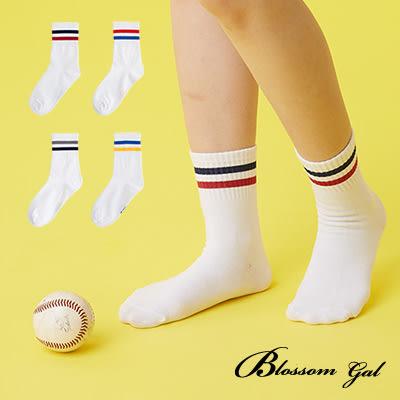 Blossom Gal 美好清晨白底雙色條紋造型短襪(共4色)