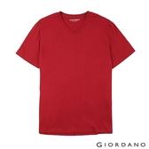 【GIORDANO】男裝棉質V領素色T恤-09 標誌紅
