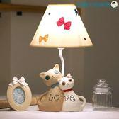 情侶貓咪婚慶檯燈臥室床頭公主燈【洛麗的雜貨鋪】
