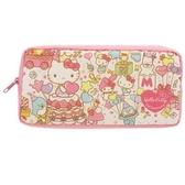 〔小禮堂〕Sanrio 大集合方形尼龍拉鍊筆袋《粉45 週年》收納包化妝包鉛筆盒4901770 58178