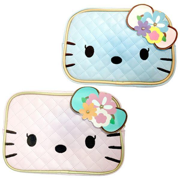【震撼精品百貨】Hello Kitty 凱蒂貓~HELLO KITTY 花漾少女大臉化妝包(粉/藍)