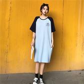 袖子撞色顯瘦棉T洋裝-大尺碼 獨具衣格 J2593