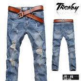 『潮段班』【SD033212】M-XL淺色微噴漆感刷破造型牛仔長褲 休閒長褲 牛仔褲