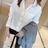 2020年秋裝新款白色雪紡襯衫女設計感小眾輕熟襯衣早秋長袖女上衣 范思莲恩