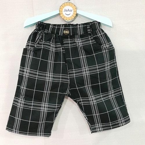 ☆棒棒糖童裝☆(E37220)夏男童鬆緊腰經典格子彈力中褲 5-17