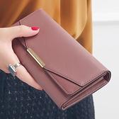 長夾 KQueenStar女士錢包女長款2021新款日韓個性簡約磨砂拼接折疊錢夾 美物