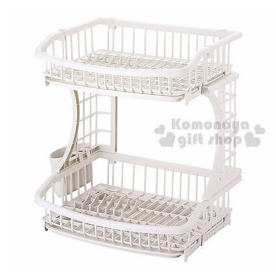 〔小禮堂〕PEARL METAL 日製雙層碗筷瀝水架《白》節省收納空間 4976790-56615